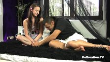 Defloration of Amira porn actor seduces beginner virgin model