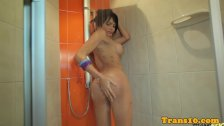 Latina tranny jerking her dick before scene