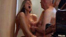 Young cutie girlfriend fucking old boyfriend caught watching porn