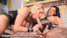 Latin Angelina Castro make Busty Blonde Maggie her Bitch!