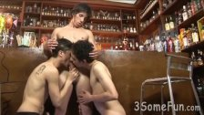Group smut at the bar with two mates and a barman