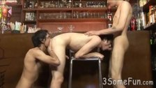 Hot boys enjoy threesome oral pleasures at the bar