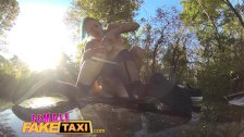 Female Fake Taxi Naughty brunette with huge dildo