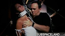 Bondage slave girl in a horror themed fetish sex scene