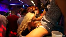 Lesbian clubbers gets fucked in public