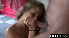 Old man fucks young girl teen blowjob and cumshot in old young porn