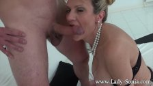 Big boobed milf Lady Sonia giving handjob and blowjob to a stranger