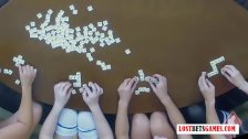"4 Beautiful Women Stripping ""Play a Create a Word; Game, Losers Mastu"
