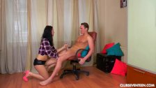 Tall teen Jessica gives a nice handjob