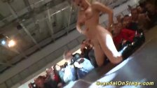 busty babe squirt on public stage