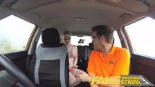 Fake Driving School pigtail cutie with moist hairy teen pussy creampie
