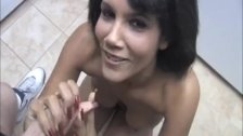Topless Latina handjob