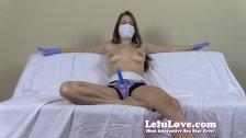 Topless girl with medical mask and strapon gives you detailed JOI