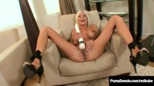 Busty Swedish Bombshell, Puma Swede Plays Pussy Show & Tell!