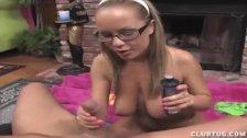 Naked hottie POV handjob