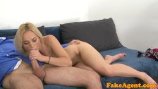 Fake Agent Pretty blonde in a red dress gives a great blowjob