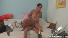 Wife finds her old mother riding his cock!