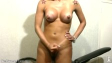 Blonde shemale with huge rack and round breasts strokes off