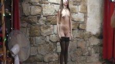 Cute goth girl with legs wide open