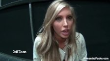 Behind the scenes fun with busty blonde Samantha Saint