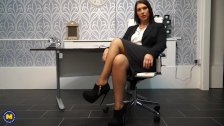Hot European MILF Masturbating in the office - duration 6:15