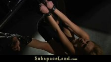 BDSM and Bondage submission for tied up teen and abused gets hard fucked