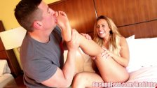 Big Booty Babe Kelsi Monroe Gives Footjob for Fucked Feet!