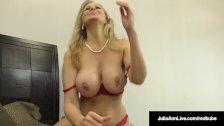 Julia Ann, World Famous Milf, Strokes & Sucks A Cock in Bed!