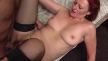 Redhead Old Slut In Boots Fucked By Young Cock
