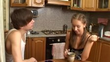 Teen likes a coffee with sperm