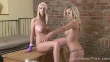 Two hot blondes enjoy teasing each other