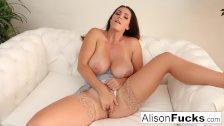 Alison Tyler rubs her pussy