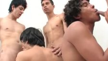 Five Young Latinos Enjoy Bareback Sex Orgy