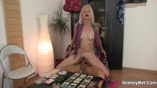 Skinny blonde granny riding thick meat