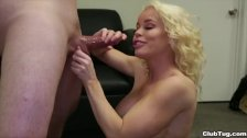 Horny milf jerks off a young dude
