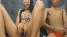 Horny Tranny Couple Sucking And Fucking On Webcam