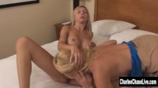 Big tit MILFs Charlee Chase and Brooke Tyler Fuck on Bed!