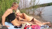 Amazing blonde teen Sara fucking outdoors