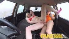 Fake Driving School Students squirting shaven pussy gets spunked on - duration 10:52
