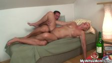 Boozed blonde old mother inlaw craving his cock - duration 6:20
