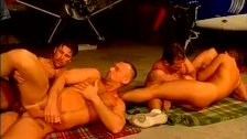 Airplane hanger gay hunks wild orgy