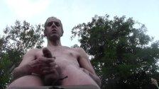 HOT NUDE DILF CUM EXPLOSION OUTDOOR IN PUBLIC GARDEN, HOMEMADE AMATEUR SOLO