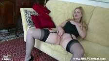 : Blonde Aston Wilde tease in vintage lingerie heels nylon strip panties wank