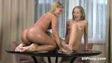 Blonde girls in white stockings try golden showers and face pissing