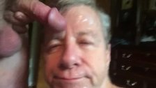 Cocksucking Faggot Sucks a Big Cock, Rewarded With a Cum Facial