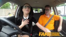 Fake Driving School - Sexy Spanish Learner sucks Big Cock for lessons