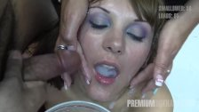 Premium Bukkake Michelle swallows 71 huge mouthful cumshots