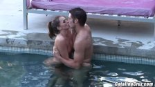 Tori Black making love to hard cock by her pool