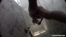 London Keyes takes a hidden camera shower