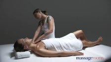 Massage Rooms Gorgeous tanned flexible lesbians make each other cum
